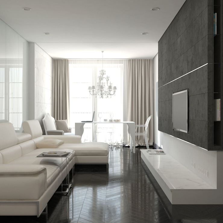 Salas de estilo clásico de Brama Architects Clásico Vidrio