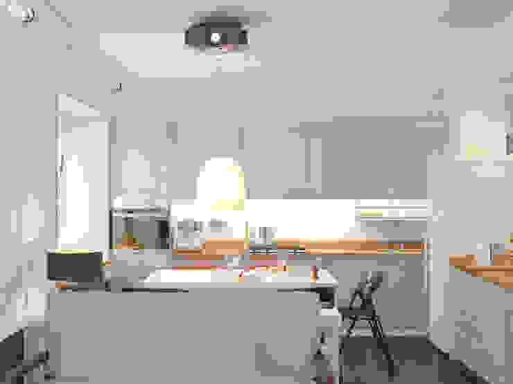Героев Обороны Кухни в эклектичном стиле от Brama Architects Эклектичный Изделия из древесины Прозрачный