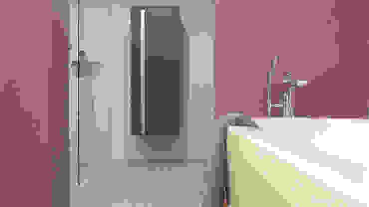 Eine feuchtraumgeeignete Beschichtung kommt an den Wänden zum Einsatz und erspart die typischen Fliesen. Moderne Badezimmer von Junghanns + Müller Architekten Modern Fliesen