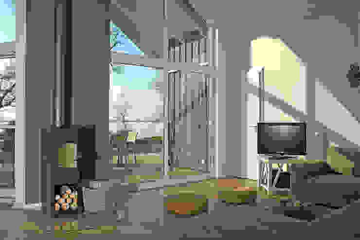 Wohnzimmer mit Kamin im Ferienhaus-Wiek Moderne Wohnzimmer von Büro Köthe Modern