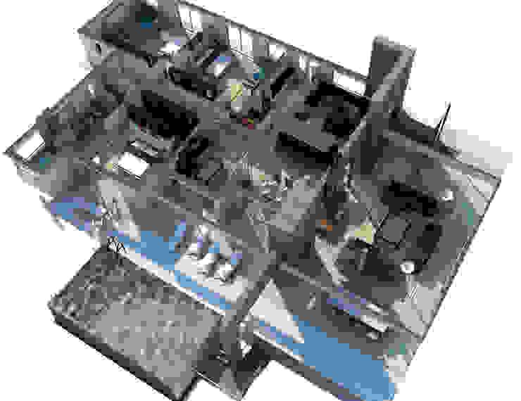 INTERIOR-PROYECCIÓN AXONOMÉTRICA Pasillos, vestíbulos y escaleras modernos de ARQUETERRA Moderno