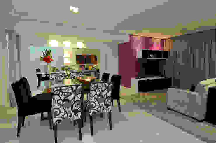 Vista geral Sala de Jantar com Espaço de Estar Salas de estar modernas por Gislene Soeiro Arquitetura e Interiores Moderno