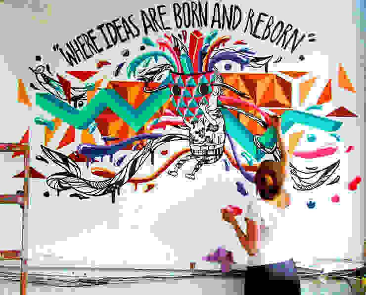 Mural-Where ideas are born and reborn Casas de estilo minimalista de Phoenix Touch Minimalista