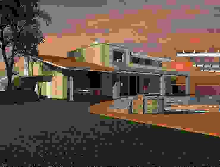 Jardín y terraza para asador y jacuzzi junto a alberca Jardines modernos de CESAR MONCADA S Moderno