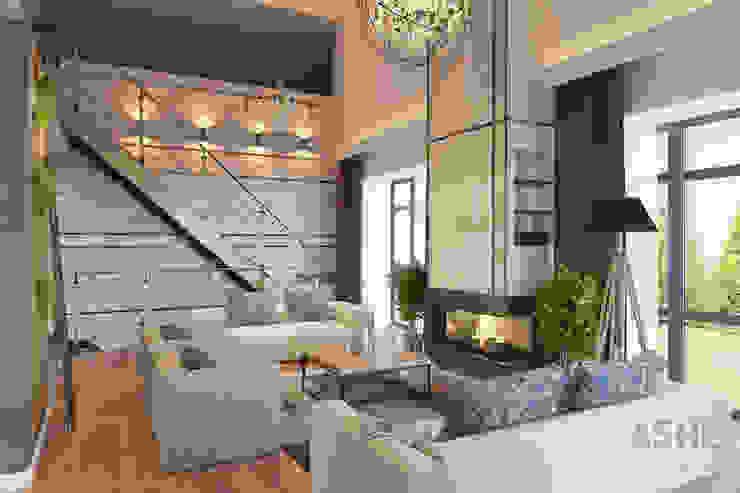 Salas / recibidores de estilo  por Студия авторского дизайна ASHE Home
