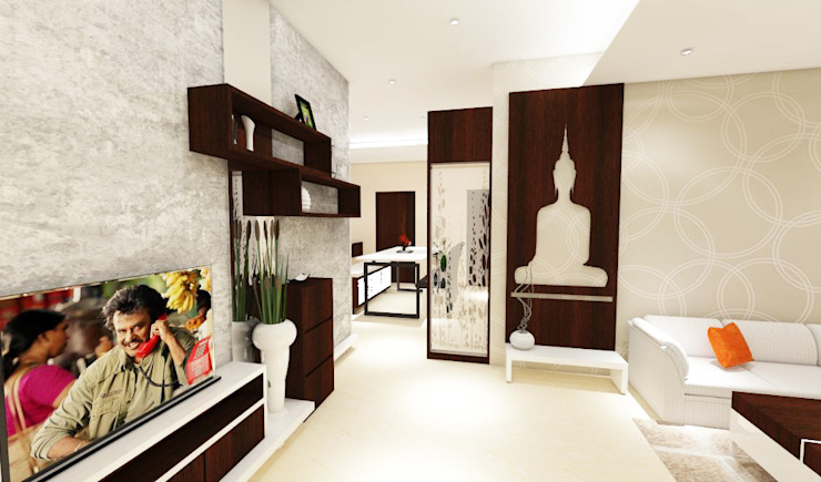 3 bedroom residential project Alkapuri, Hyderabad. Minimalist living room by colourschemeinteriors Minimalist Plywood
