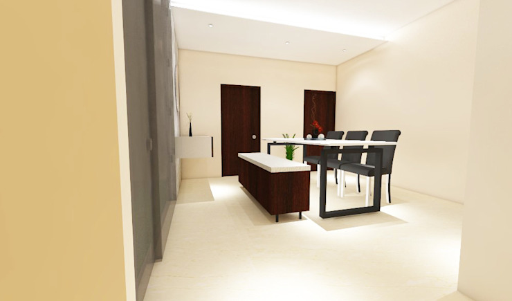 3 bedroom residential project Alkapuri, Hyderabad. Minimalist dining room by colourschemeinteriors Minimalist Plywood