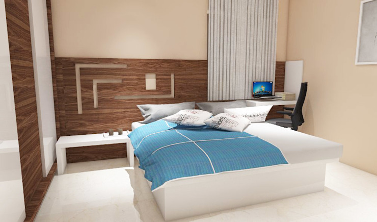 3 bedroom residential project Alkapuri, Hyderabad. Minimalist bedroom by colourschemeinteriors Minimalist Plywood