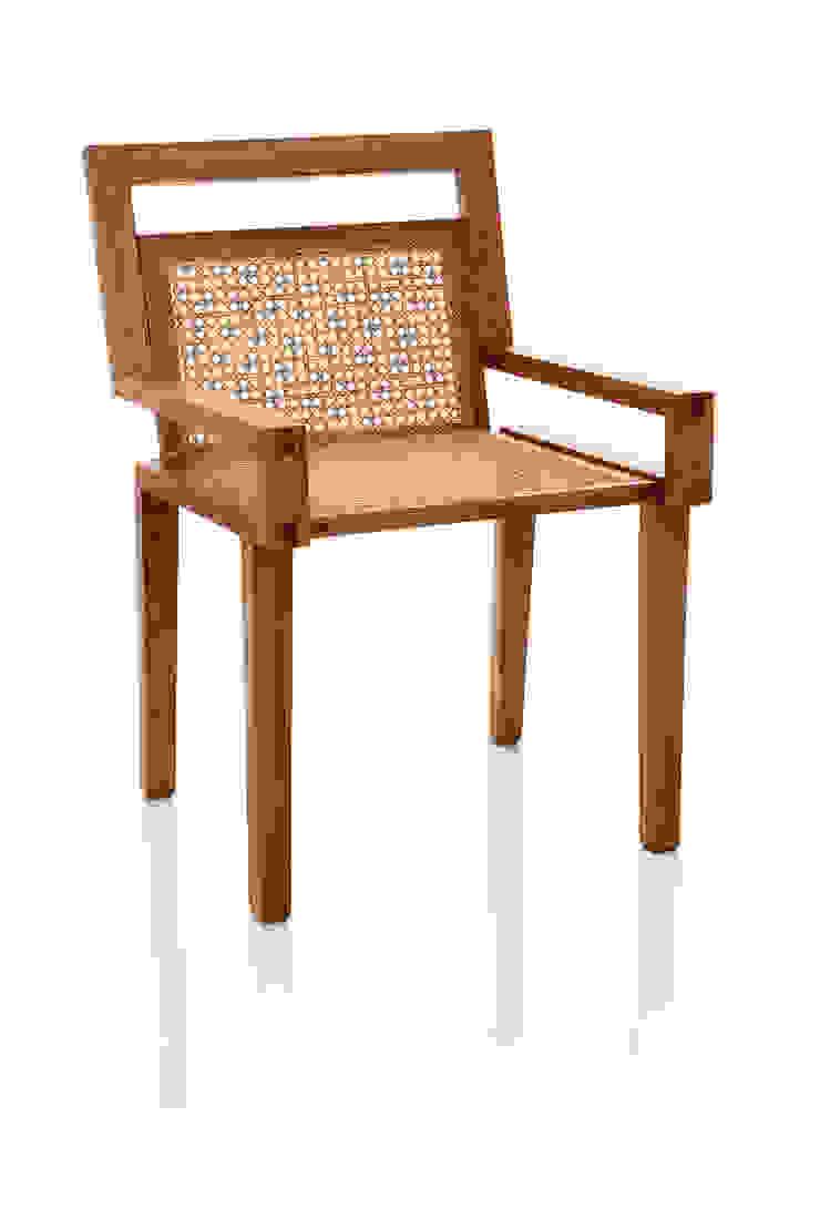 Cadeira ART em palhinha indiana trançada a mão por LLUSSÁ Mobiliário de design Moderno Madeira maciça Multi colorido