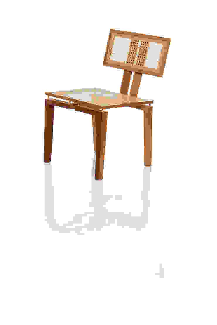 Cadeira BEL em palhinha indiana trançada a mão por LLUSSÁ Mobiliário de design Moderno Madeira maciça Multi colorido