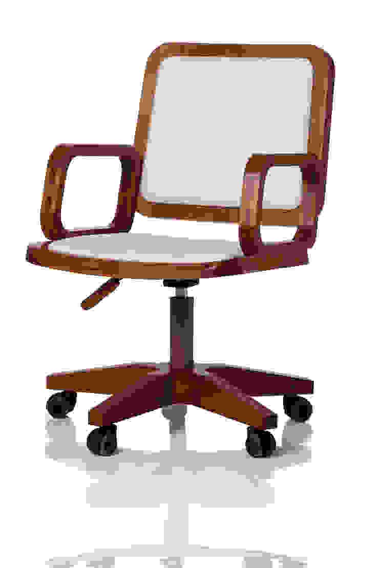 Cadeira giratória GIR com braço assento e encosto estofados por LLUSSÁ Mobiliário de design Moderno Madeira maciça Multi colorido
