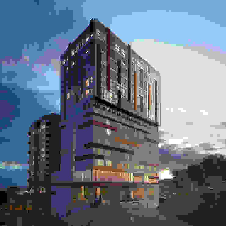 Fachada Torre empresarial y Hotel de MIES GROUP Moderno