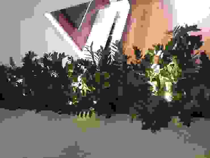 Floreira Interna - piso Sala Jantar E|F DESIGN.INTERIORES.PAISAGISMO Casas modernas Verde