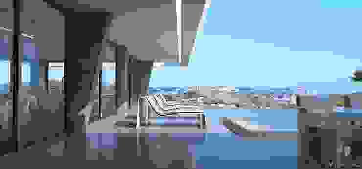 Villa Mirias Miralbo Excellence Balcones y terrazas de estilo moderno