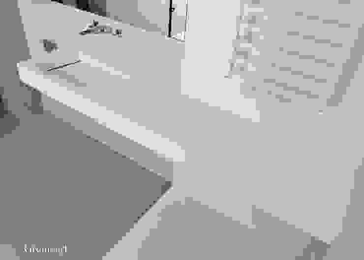 Umywalka z odpływem liniowym asymetryczna od Gremo art Nowoczesny