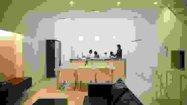 House in Fukushima: Mimasis Design/ミメイシス デザインが手掛けたリビングです。,モダン