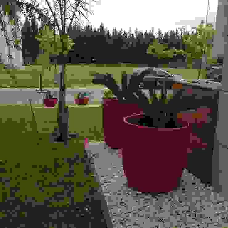 un jardin bien moderno con grandes macetas rojas Jardines de estilo moderno de BAIRES GREEN Moderno