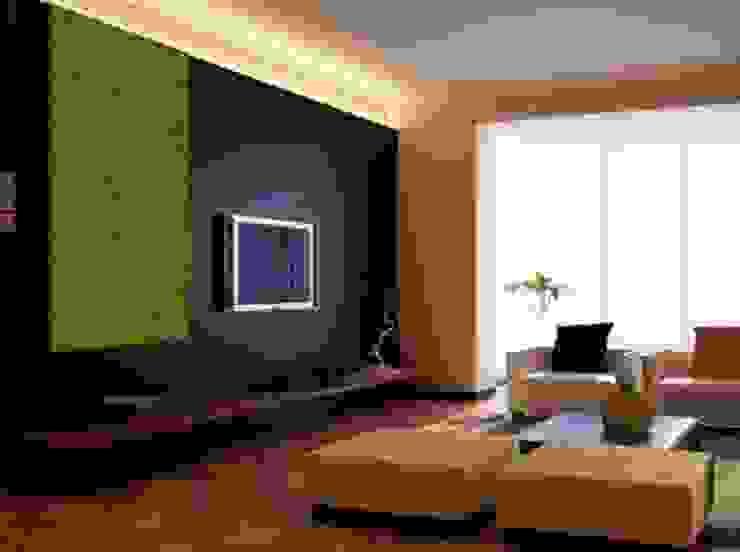 Zielone ściany z mchu Moss Trend® Nowoczesny pokój multimedialny od BandIt Design Nowoczesny