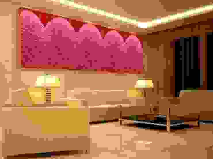 Różowe ściany z mchu Moss Trend® Nowoczesne domowe biuro i gabinet od BandIt Design Nowoczesny