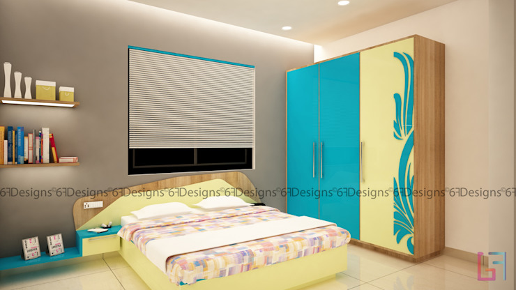 Residence of Mr. Kale Modern style bedroom by 6F Design Studio Modern Plywood