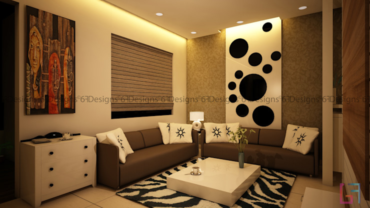 Residence of Mr. Kale Modern living room by 6F Design Studio Modern Plywood