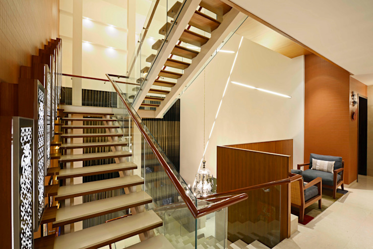 Peacock and the Woods Modern corridor, hallway & stairs by Aijaz Hakim Architect [AHA] Modern
