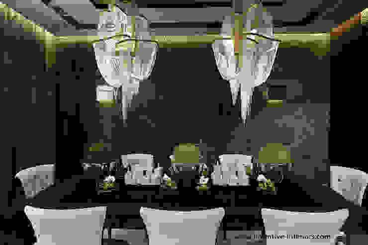 Kamień na ścianie w jadalni Klasyczna jadalnia od Inventive Interiors Klasyczny Łupek