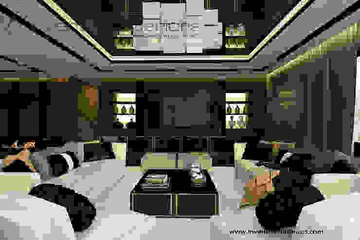 Białe sofy i akcent złota w klasycznym salonie Klasyczny salon od Inventive Interiors Klasyczny Drewno O efekcie drewna