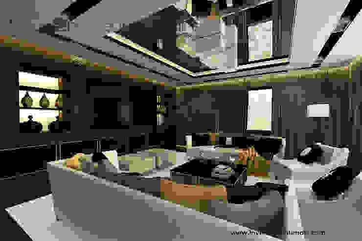 Lustro na suficie w salonie Klasyczny salon od Inventive Interiors Klasyczny Drewno O efekcie drewna