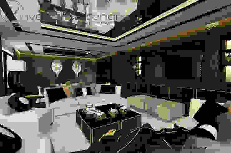 Białe sofy i akcent złota w klasycznym salonie Klasyczny salon od Inventive Interiors Klasyczny