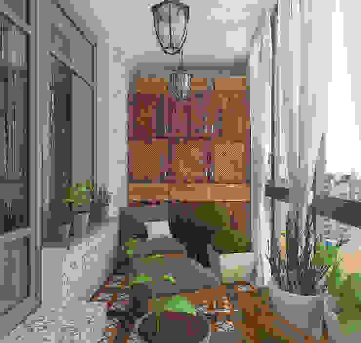 Design interior OLGA MUDRYAKOVA의  베란다