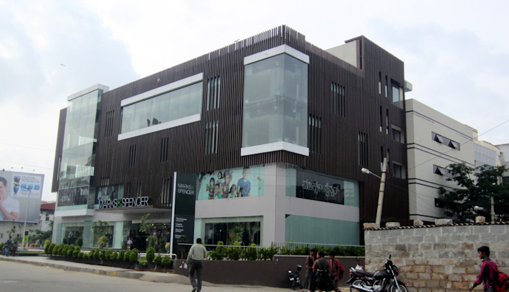 Commercial Complex at Koramangala, Bangalore Modern offices & stores by Parikshit Dalal Design + Architecture Modern Concrete