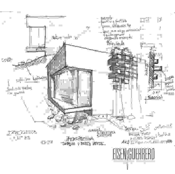 Boceto y Diseño de la Pared Verde adosada. Jardines de estilo minimalista de Eisen Arquitecto Minimalista
