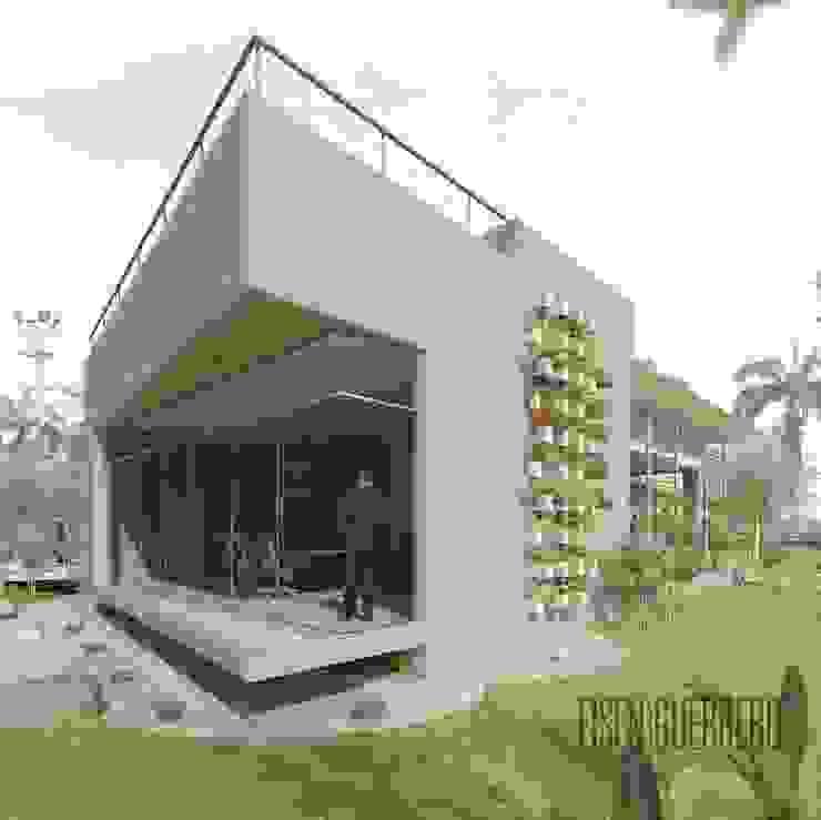 Vista Lateral-Frontal (sur-oeste) al edificio EXPERIENCE CENTRE Casas de estilo minimalista de Eisen Arquitecto Minimalista