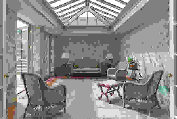 Impressive Twin Classical Orangeries - Sitting Room Jardines de invierno clásicos de Vale Garden Houses Clásico Madera Acabado en madera