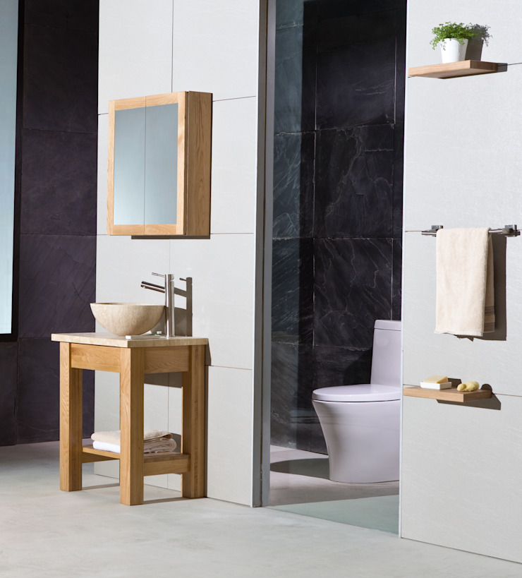 Prestige Oak Cloakroom Washstand With Mini Nova Basin. Stonearth Interiors Ltd Minimalist style bathroom Wood