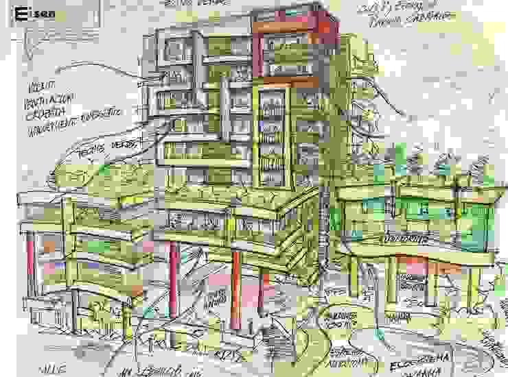 Boceto análisis de ventilación cruzada. EISEN Arquitectura + Construccion Casas modernas