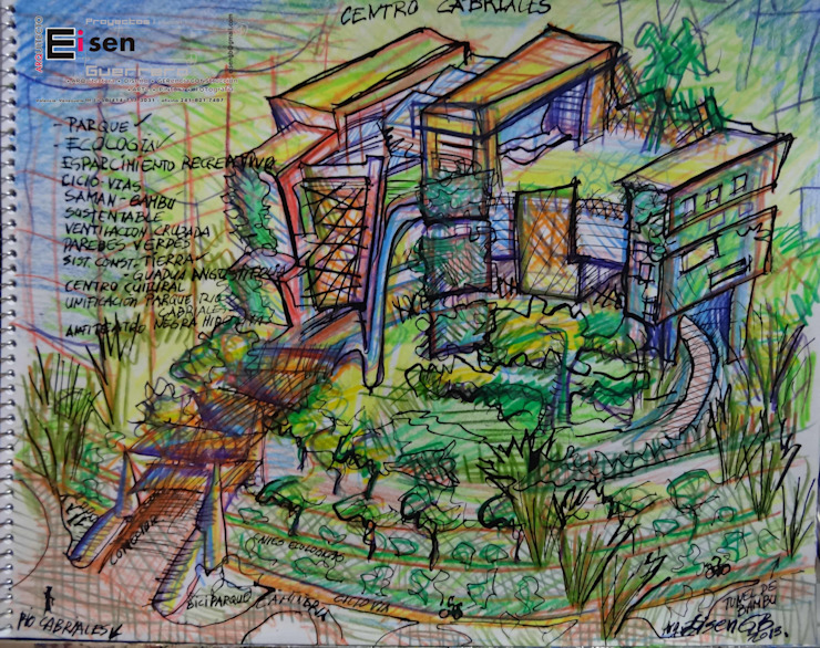Boceto análisis Esquemático y conceptualizacion. Arquitectura Pasiva. Casas modernas de Eisen Arquitecto Moderno