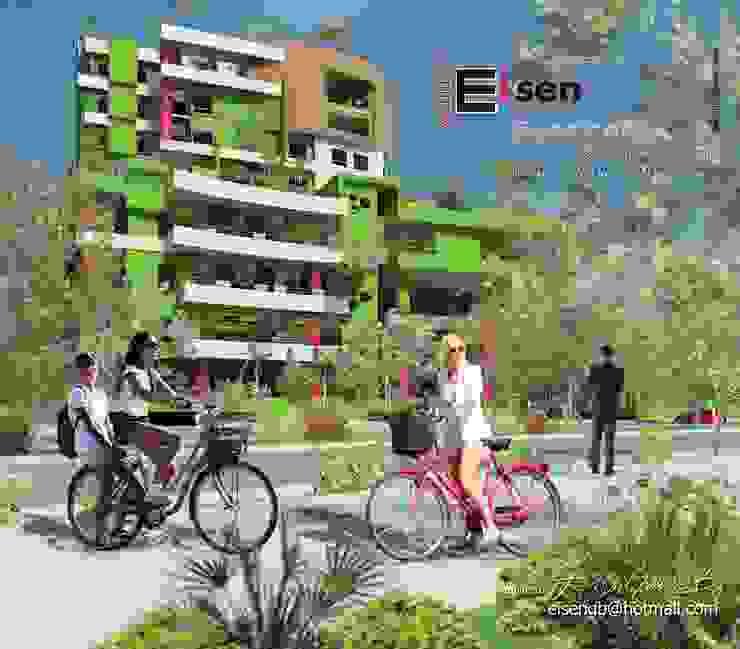 Vista exterior desde la ciclovía de enlace del eje del parque, conexiones aéreas e hitos urbanos, al edificio.Paredes y techos verdes. EISEN Arquitectura + Construccion Casas modernas