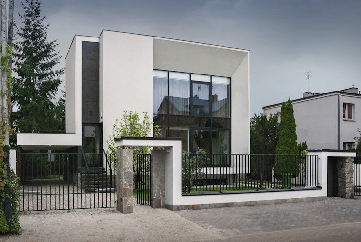 PAWEL LIS ARCHITEKCI Modern houses Glass White