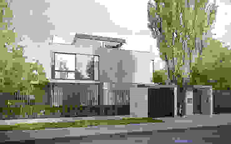 ELEWACJA FRONTOWA Minimalistyczne domy od PAWEL LIS ARCHITEKCI Minimalistyczny Cegły