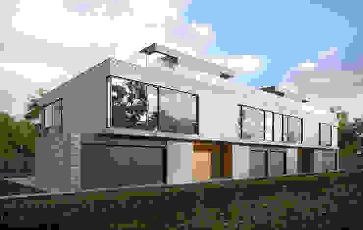 ELEWACJA WEJSCIOWA Minimalistyczne domy od PAWEL LIS ARCHITEKCI Minimalistyczny Cegły
