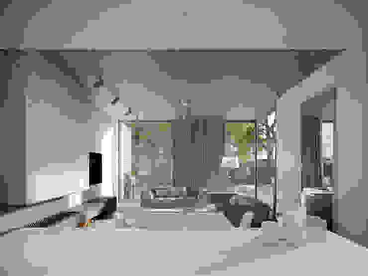 KUCHNIA /JADALNIA/SALON2 Minimalistyczny salon od PAWEL LIS ARCHITEKCI Minimalistyczny Beton