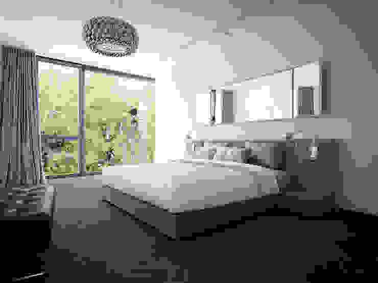 DOM NA CZEREŚNIOWEJ 9 Minimalistyczna sypialnia od PAWEL LIS ARCHITEKCI Minimalistyczny Drewno O efekcie drewna