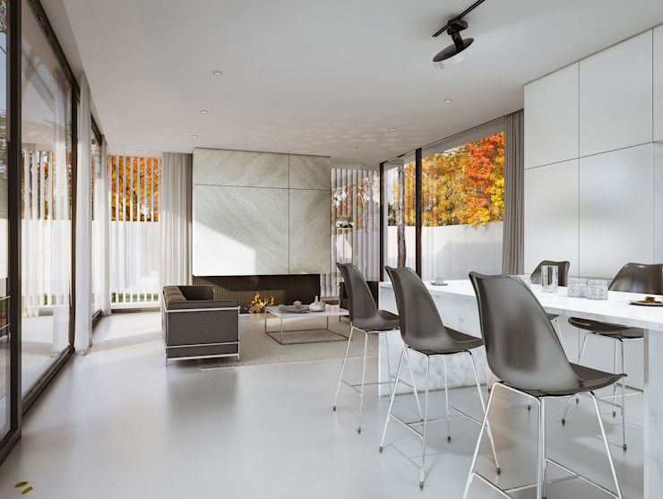 Salon minimaliste par PAWEL LIS ARCHITEKCI Minimaliste Verre