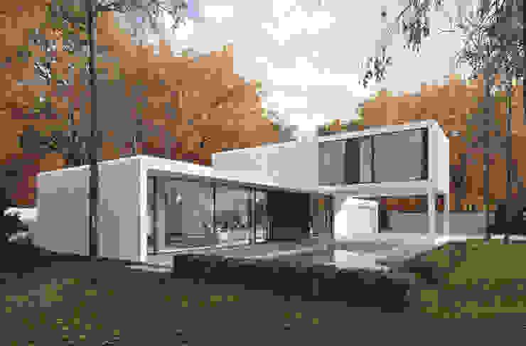 Balcon, Veranda & Terrasse minimalistes par PAWEL LIS ARCHITEKCI Minimaliste Verre