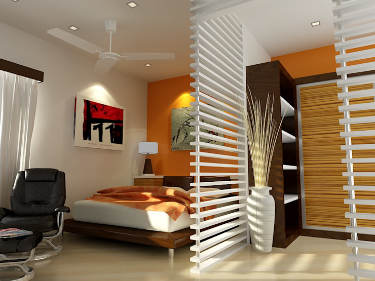 Converting Rooms into cozy studios SHEEVIA INTERIOR CONCEPTS Modern style bedroom Ceramic White