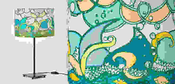 Pantalla de lámpara, seda artesanal - ~ El vaivén de las olas ~ de Once upon a light Mediterráneo