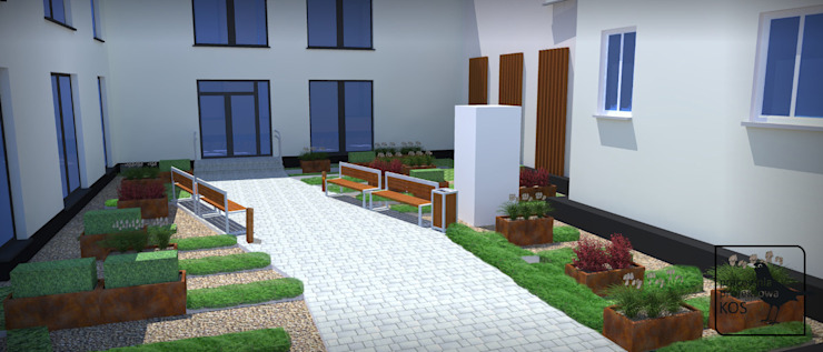 Dach zielony. Zagospodarowanie powierzchni na garażu podziemnym. od Pracownia projektowa KOS