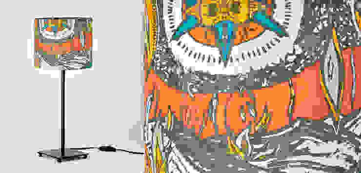 Pantalla de seda- ilustración del desierto - tonos naranja de Once upon a light Mediterráneo